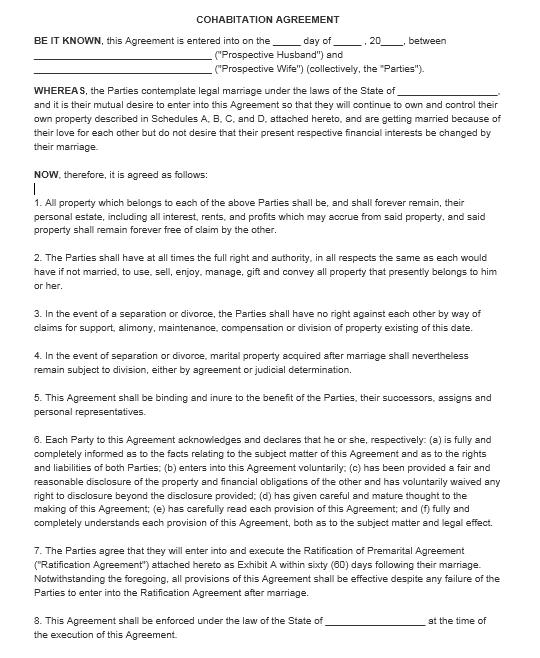 cohabitation agreement template 06.