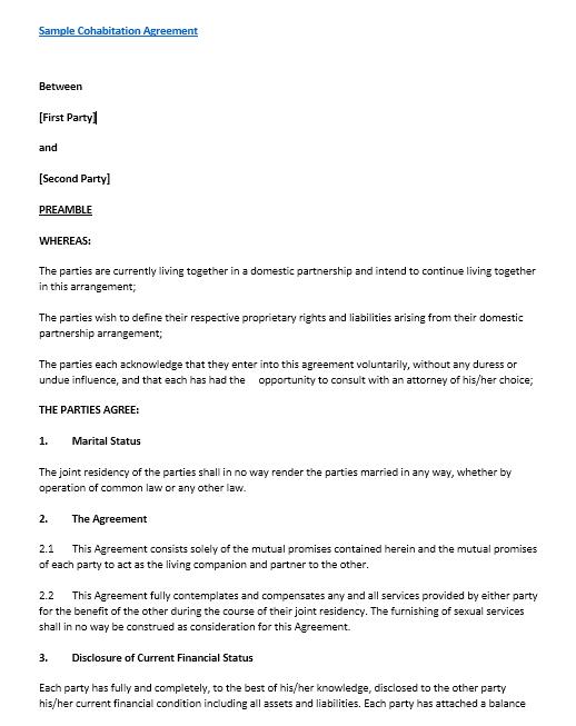 cohabitation agreement template 08.