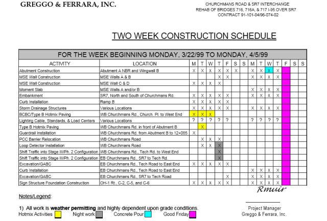 construction schedule template 11