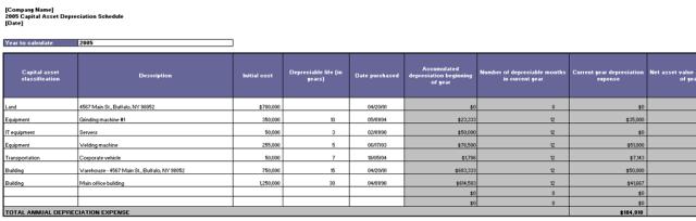 depreciation schedule template 08