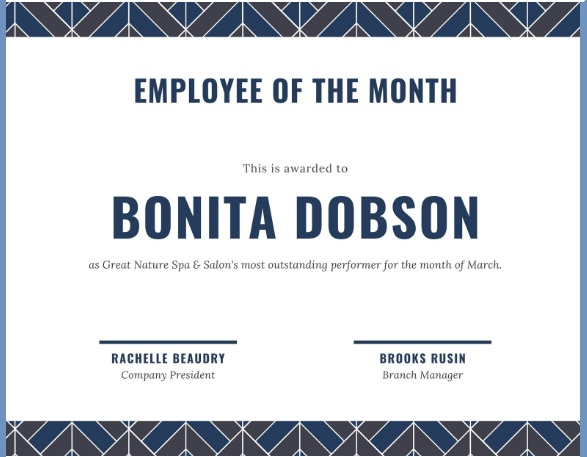 employee of month certificate template 02