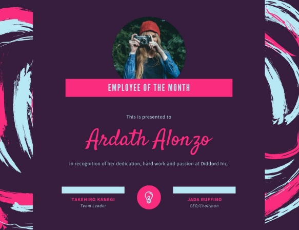 employee of month certificate template 08
