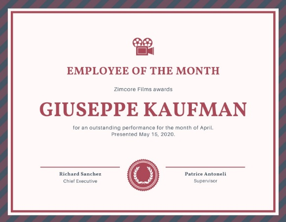 employee of month certificate template 11