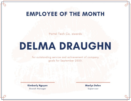 employee of month certificate template 12