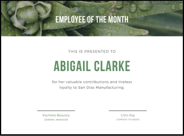 employee of month certificate template 16