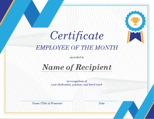 employee of month certificate template 18