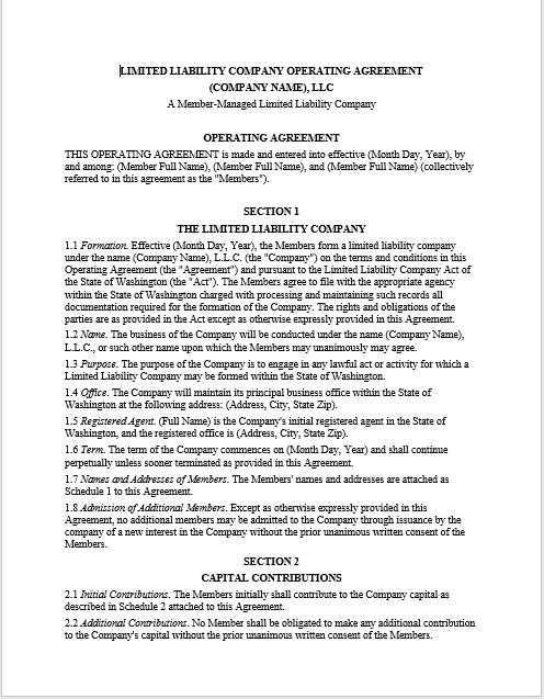 llc operating agreement template 09