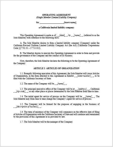 llc operating agreement template 11