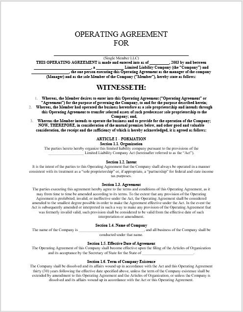 llc operating agreement template 13