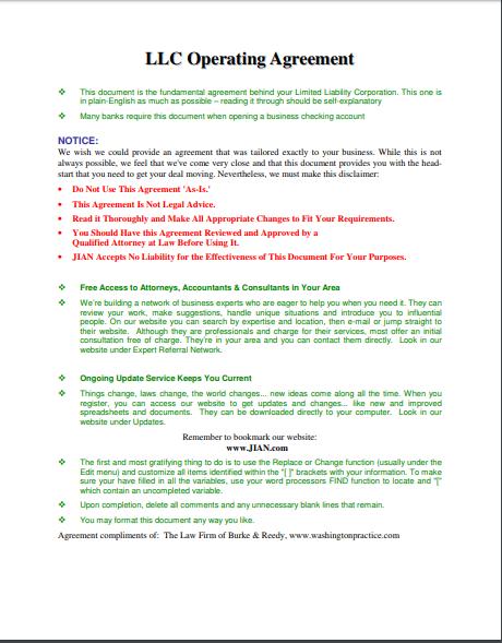 llc operating agreement template 18
