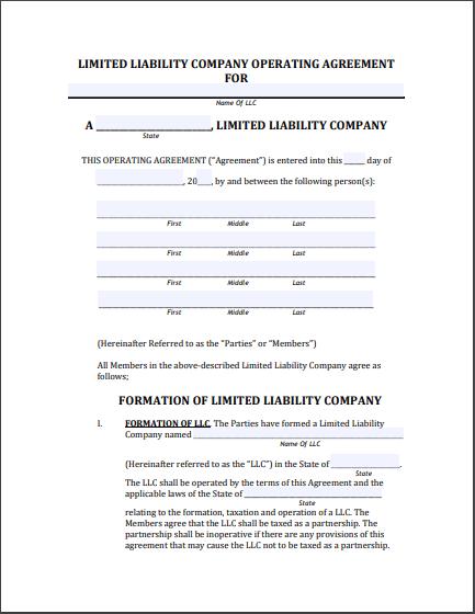 llc operating agreement template 21