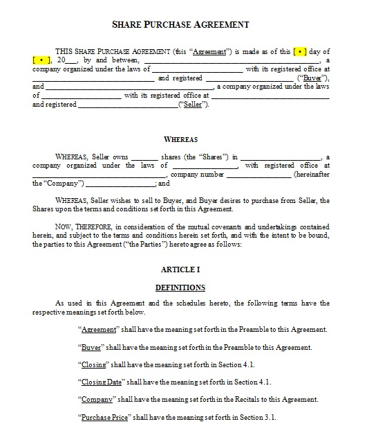 purchase agreement template 08
