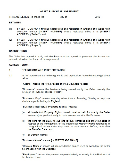 purchase agreement template 13