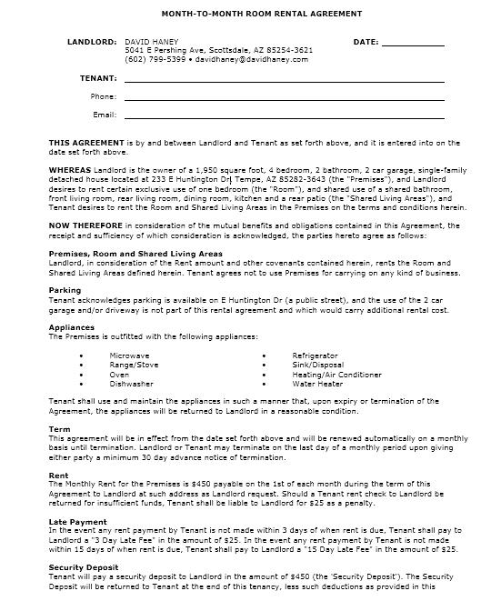 room rental agreement template 08