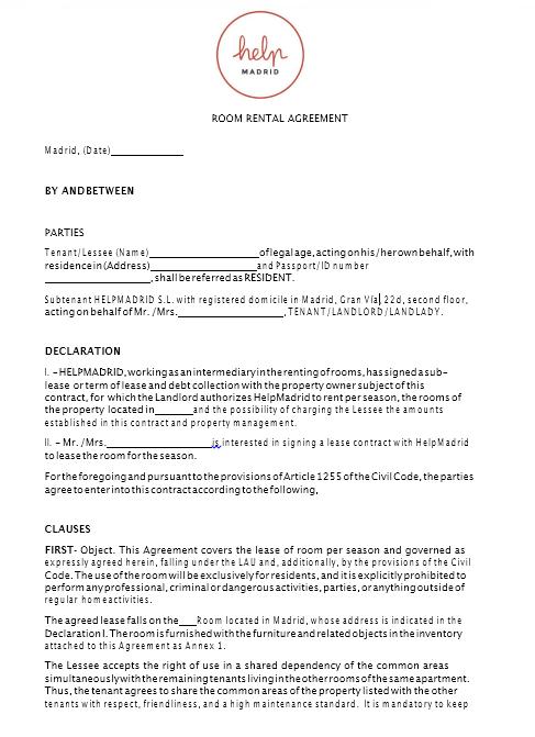 room rental agreement template 09