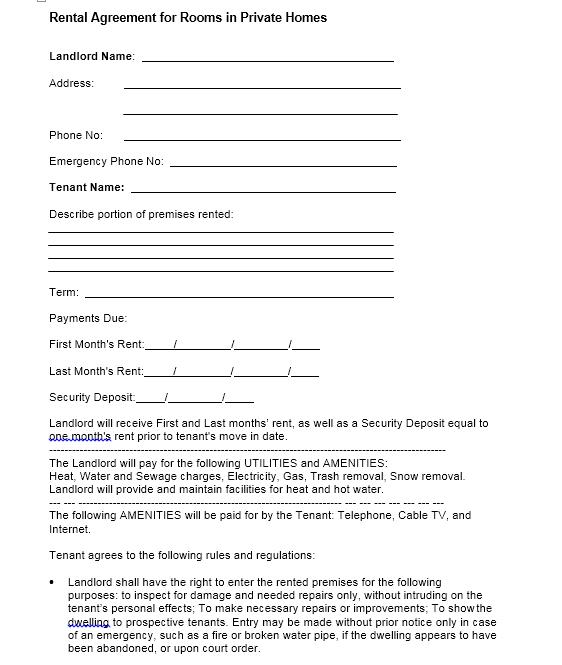 room rental agreement template 15