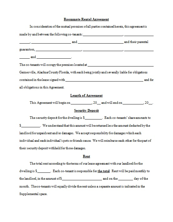 roommate agreement template 15