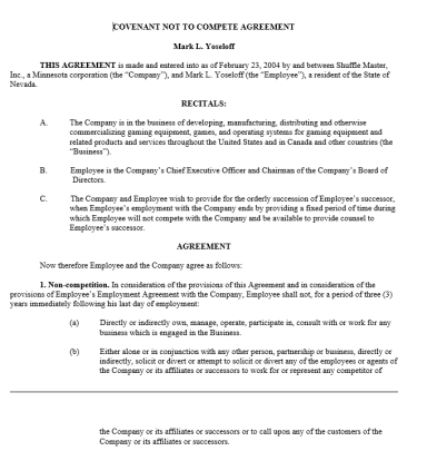 Non-Compete Agreement Template 20