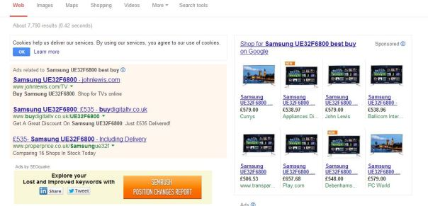 serps search for tvs PPC ads