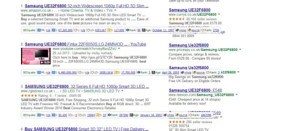 serps search for tvs search results