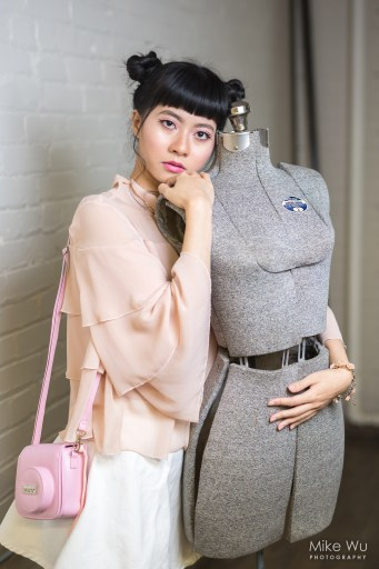 makeup, hair, fashion, instax, purse, mannequin, gray, pink, monochromatic, hug, embrace, toronto, photography, phooshoot, portraits, glamour