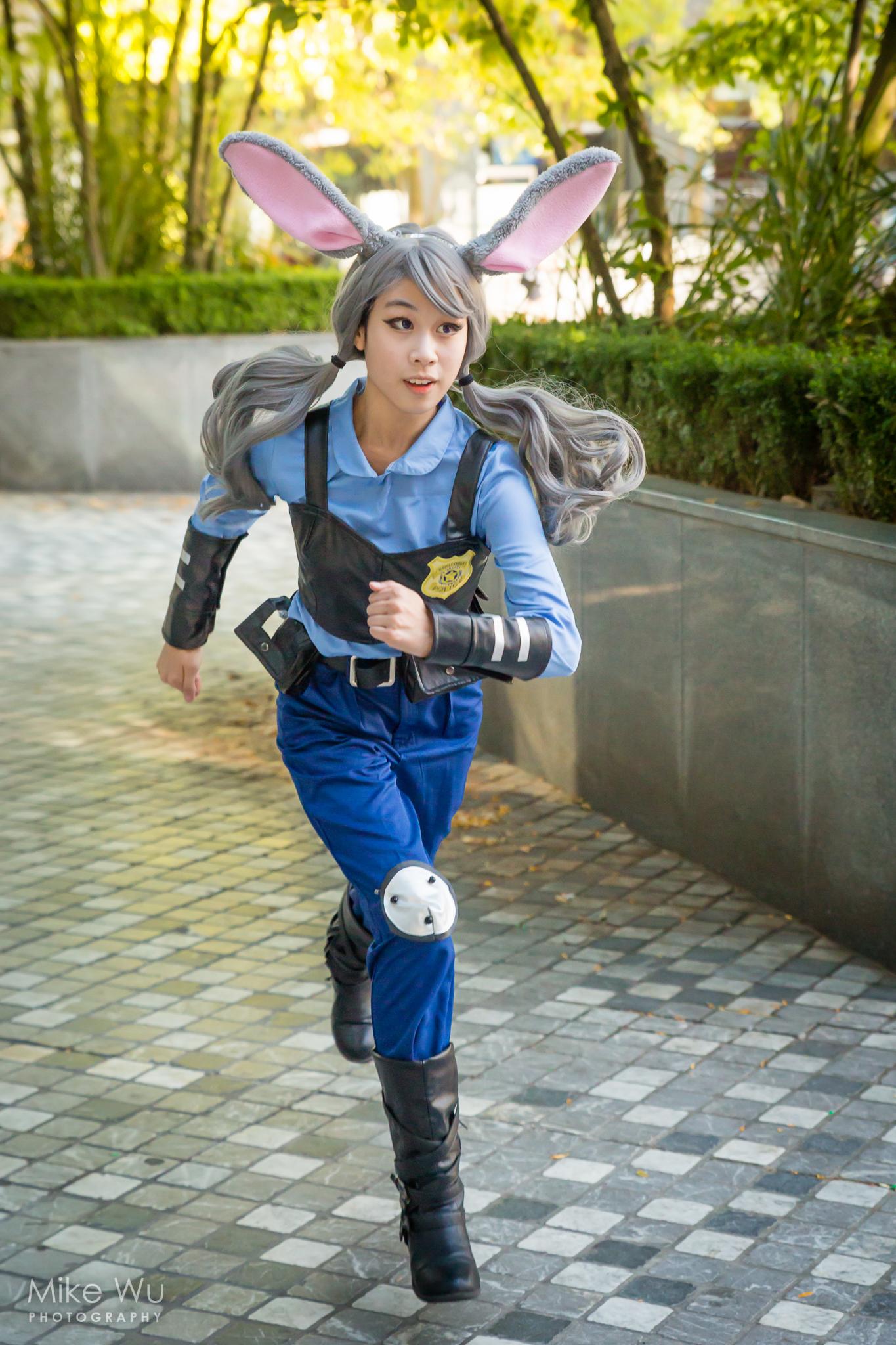 cosplay, judy hopps, zootopia, running, officer, bunny, movie, sprint, ears, badge