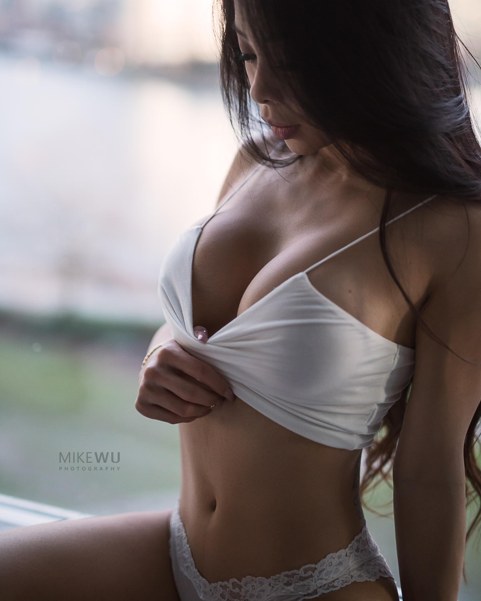 vancouver portrait photographer mike wu, white, crop, panty, lace, window, blue hour, sunset, vancouver, view, beauty, boudoir, portrait, sexy, studio, window light, asian, beauty, seductive, lovely, female, photoshoot, unique, depth, 3d