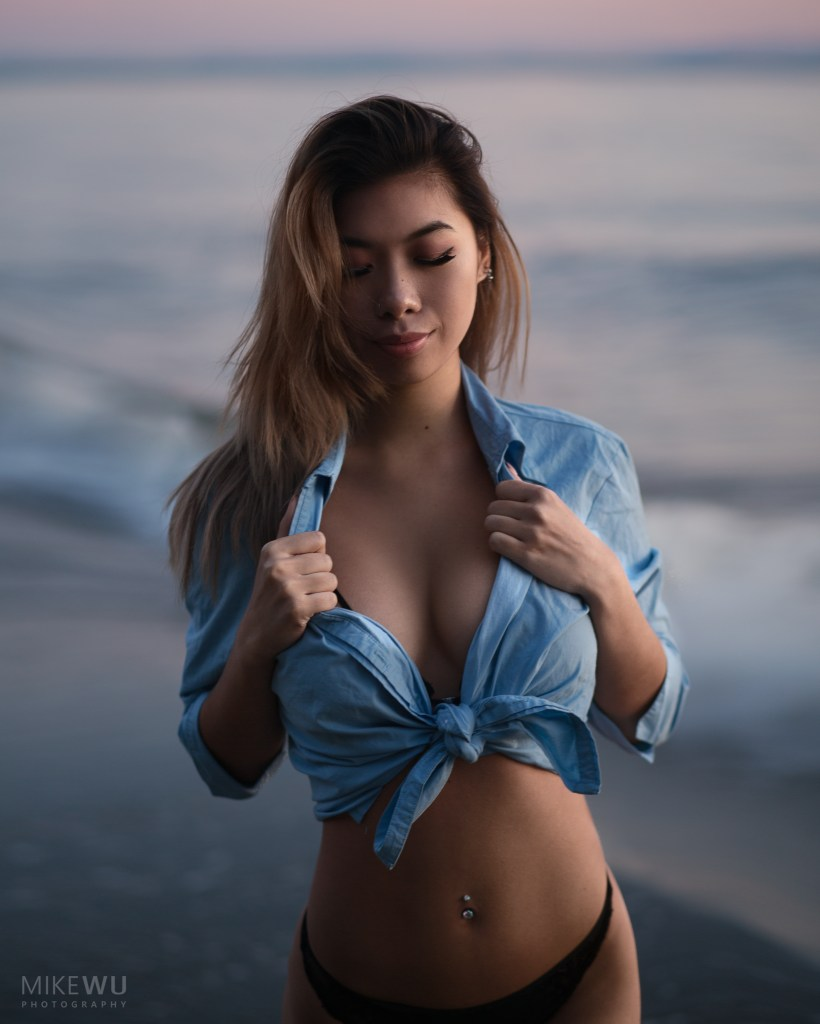 vancouver portrait photographer mike wu amy asian beach wreck collar shirt sunset pink natural sand waves water ocean sea summer photo alluring