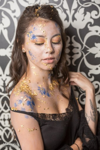 makeup, gold glitter, blue flowers, black dress, wavy hair, beauty, fashion, raw, artists, vancouver, photography