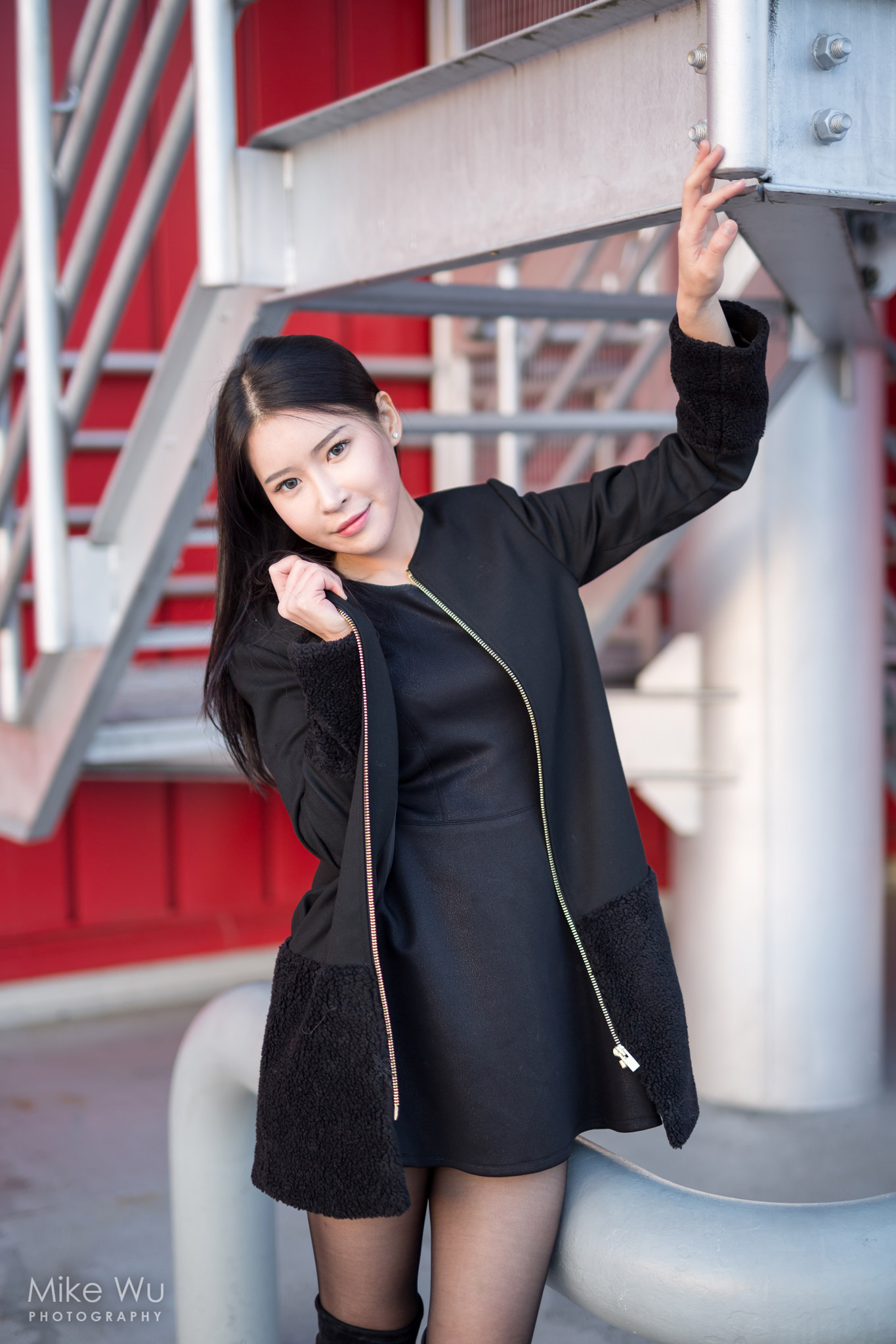 red, stairs, vancouver, creekside, black, coat, dress, cool, fashion, asian
