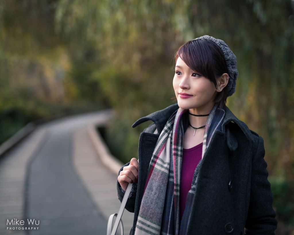 Fall, autumn, burnaby, vancouver, Deer Lake, walkway, path, sunset, golden hour, photoshoot, portrait, scarf, beanie, coat, purse