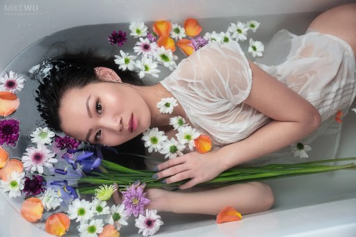 spring, flowers, asian, shirt, see through, floating, bath, shoot, tub, real, white, innocence, vancouver, studio