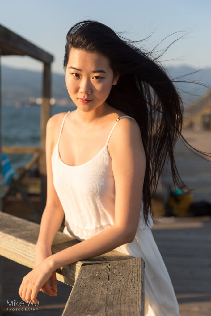 wind, blow, pier, jericho, vancouver, bc, sunset, beach, white dress, asian, long hair, smile, water, ocean, mountains, boats, wooden