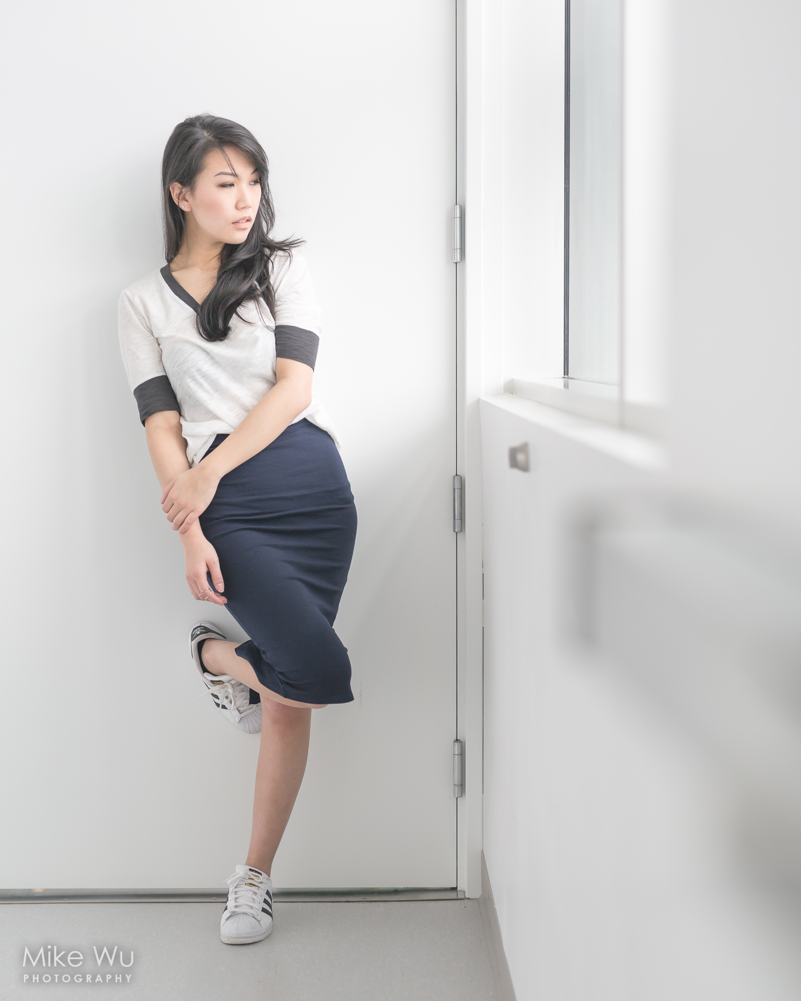 vancouver, photoshoot, indoors, window, skirt, navy blue, curly hair, asian, beauty, door, adidas