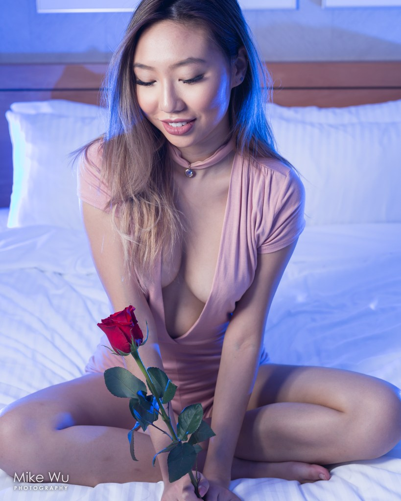 vancouver portrait photographer mike wu indoor studio photoshoot published magazine rose smile unique blue gel boudoir asian chinese model photoshoot valentine's day gift lovely seduction choker