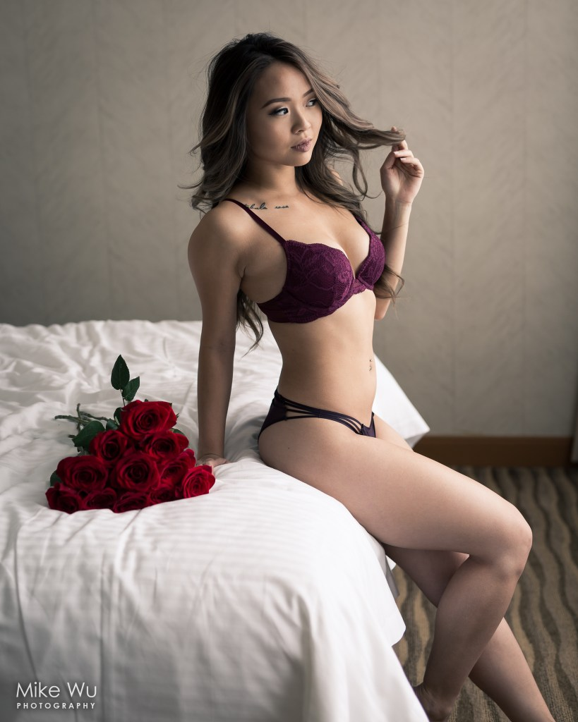 vancouver portrait photographer mike wu sitting bed indoor studio lifestyle boudoir valentines roses intimate lingerie sexy asian beauty model waiting thoughtful body