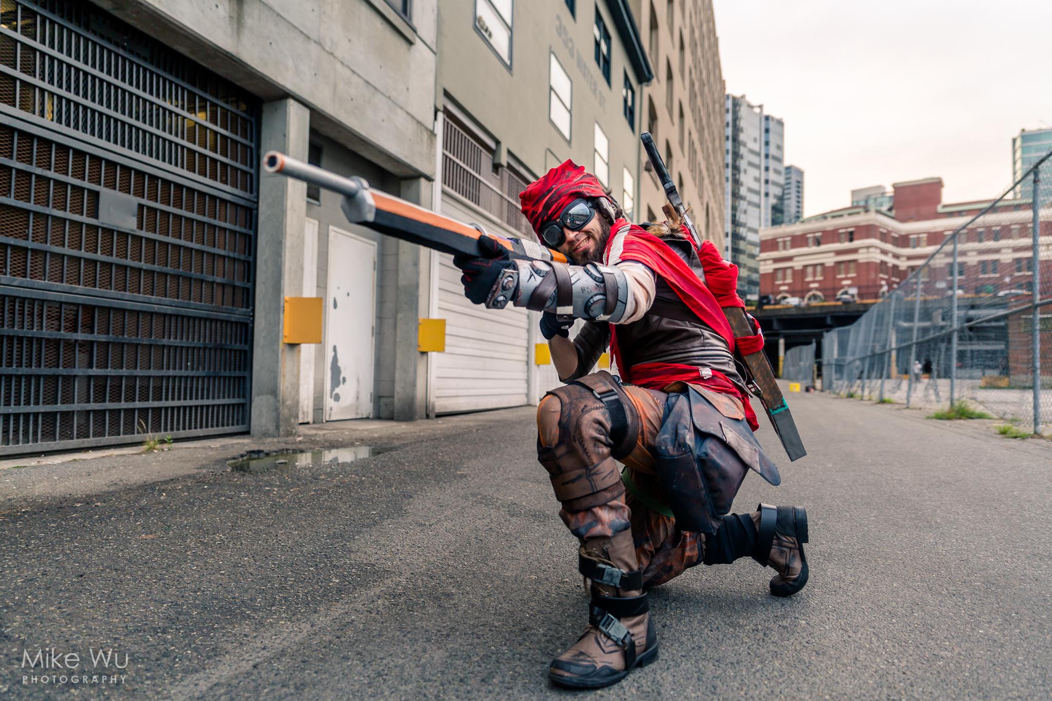 cosplay, moridcai, borderlands, rifle, man, shoot, game