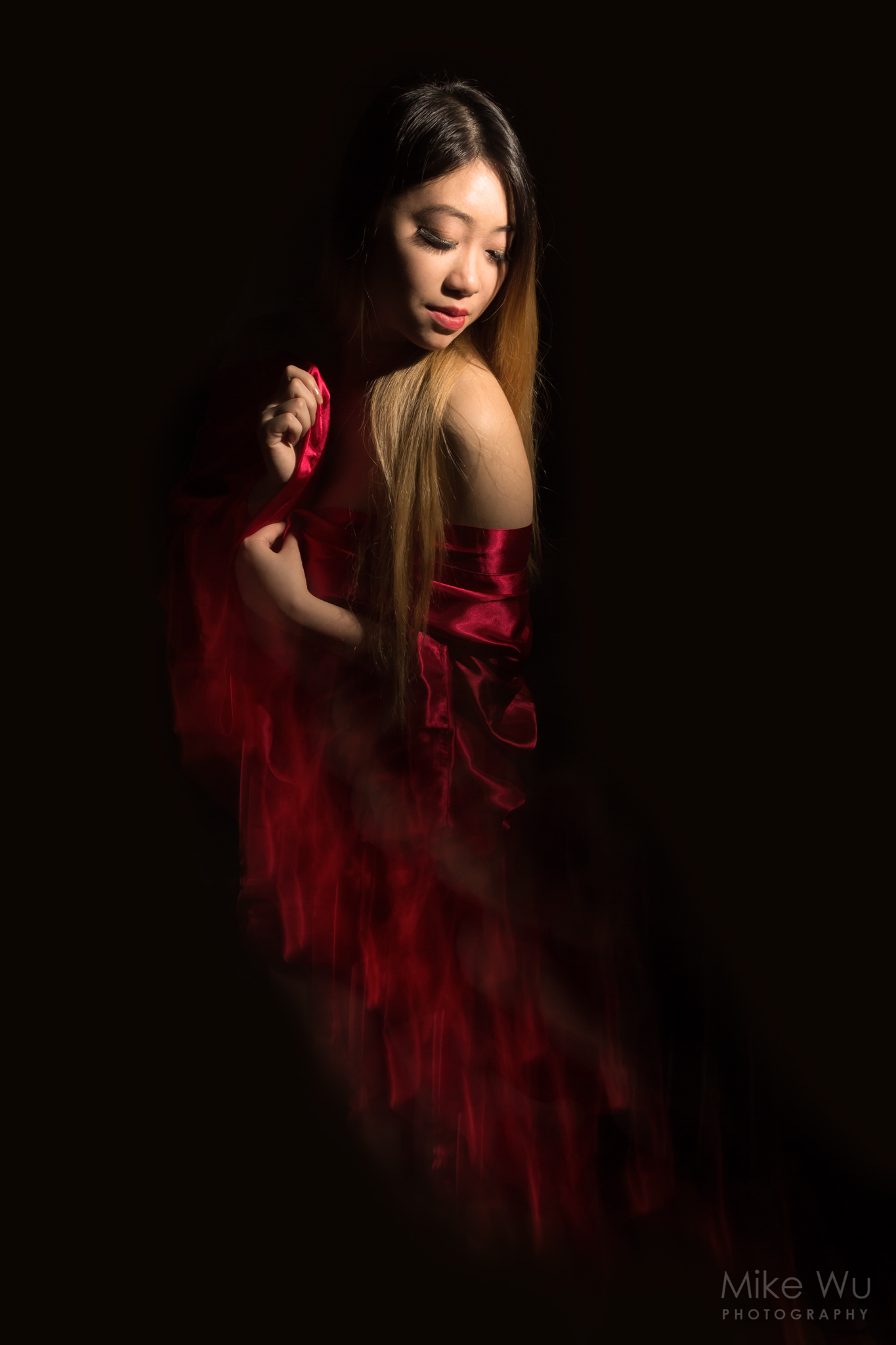 model, silk, moody, dark, lowkey, fine art, red robe, dark, studio, vancouver, photographer, photography