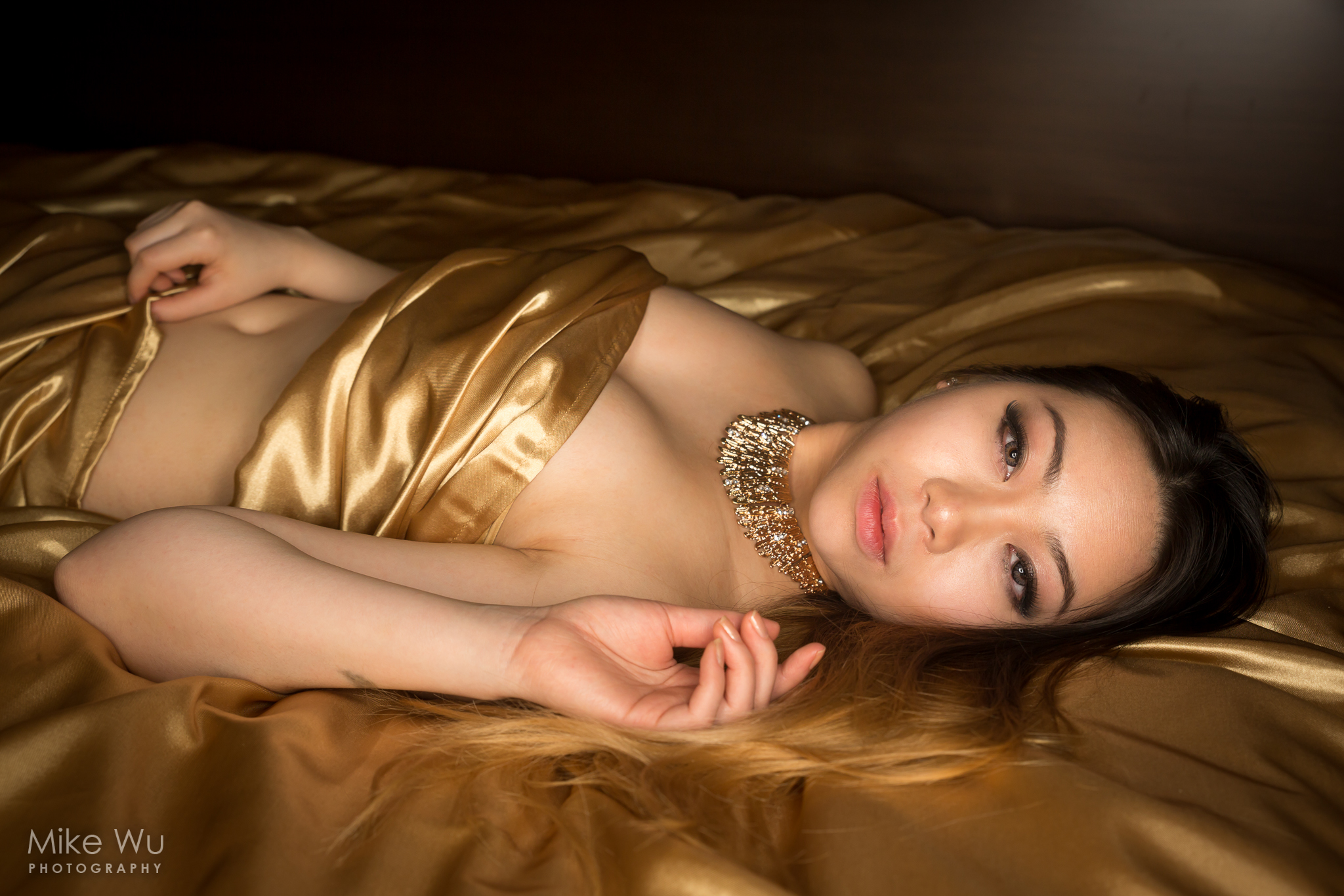gold, jewelry, necklace, satin, sheets, bed, lying, asian, blond, beautiful, female, girl, boudoir, sensual, golden, shiny