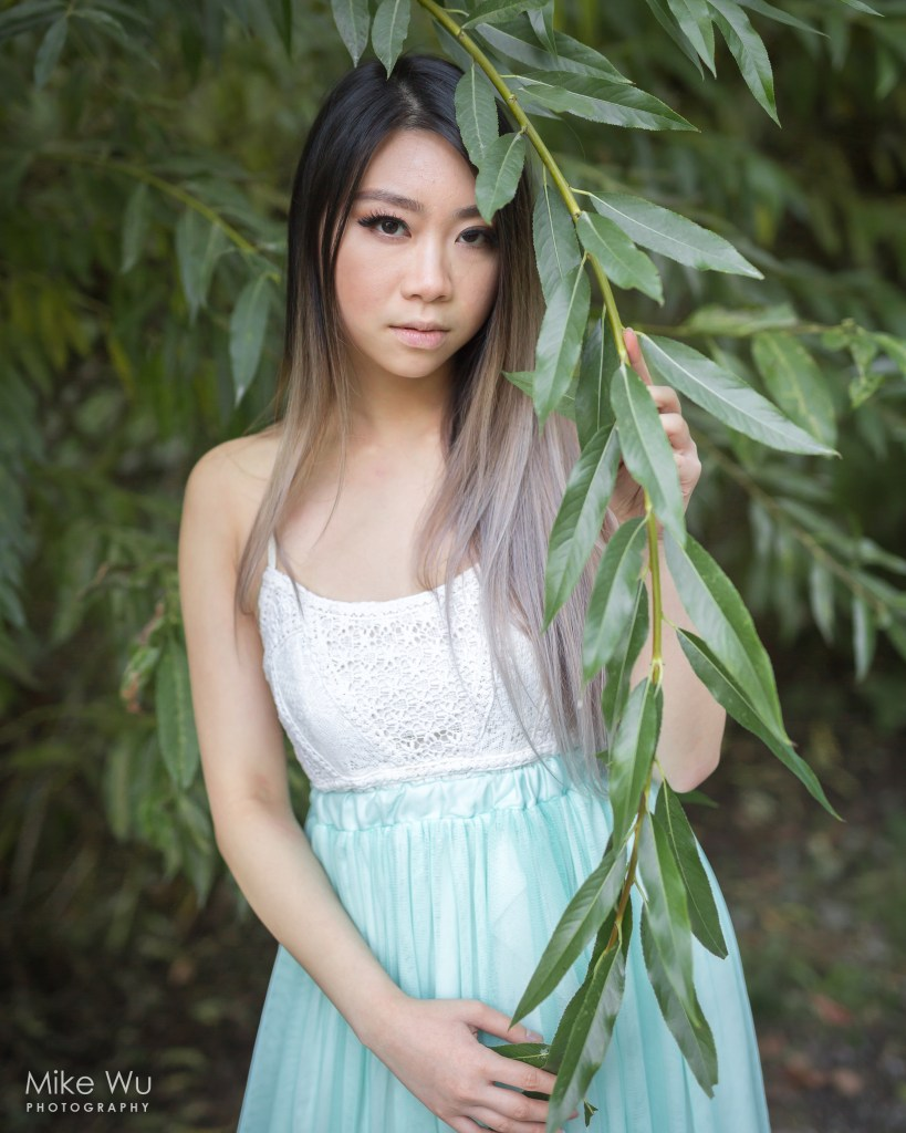 park, leaves, bush, summer, branch, model, vancouver, asian, portrait, environment, natural, park, trout lake
