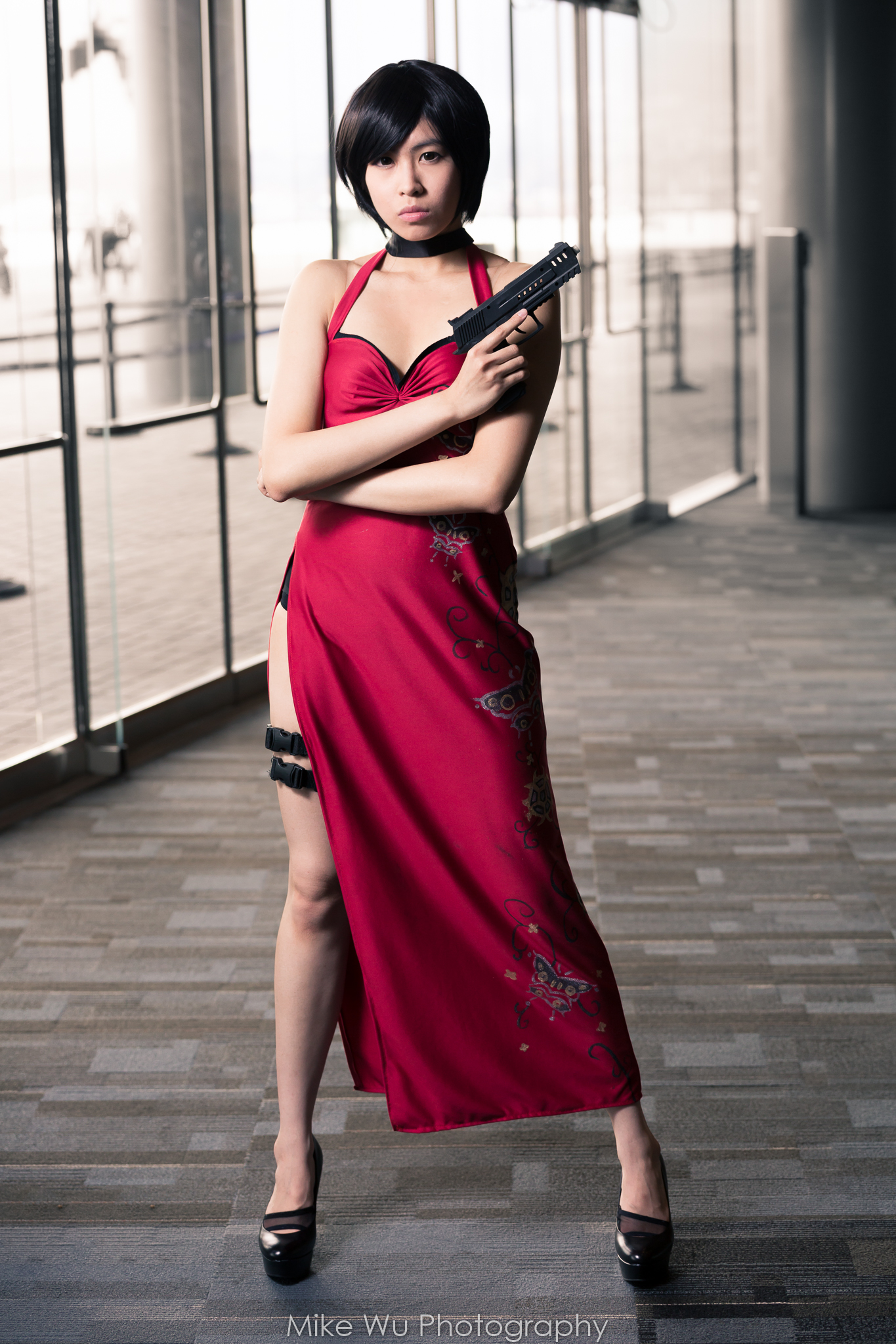 cosplay, ada wong, resident evil, character, movie, gun, red dress, asian