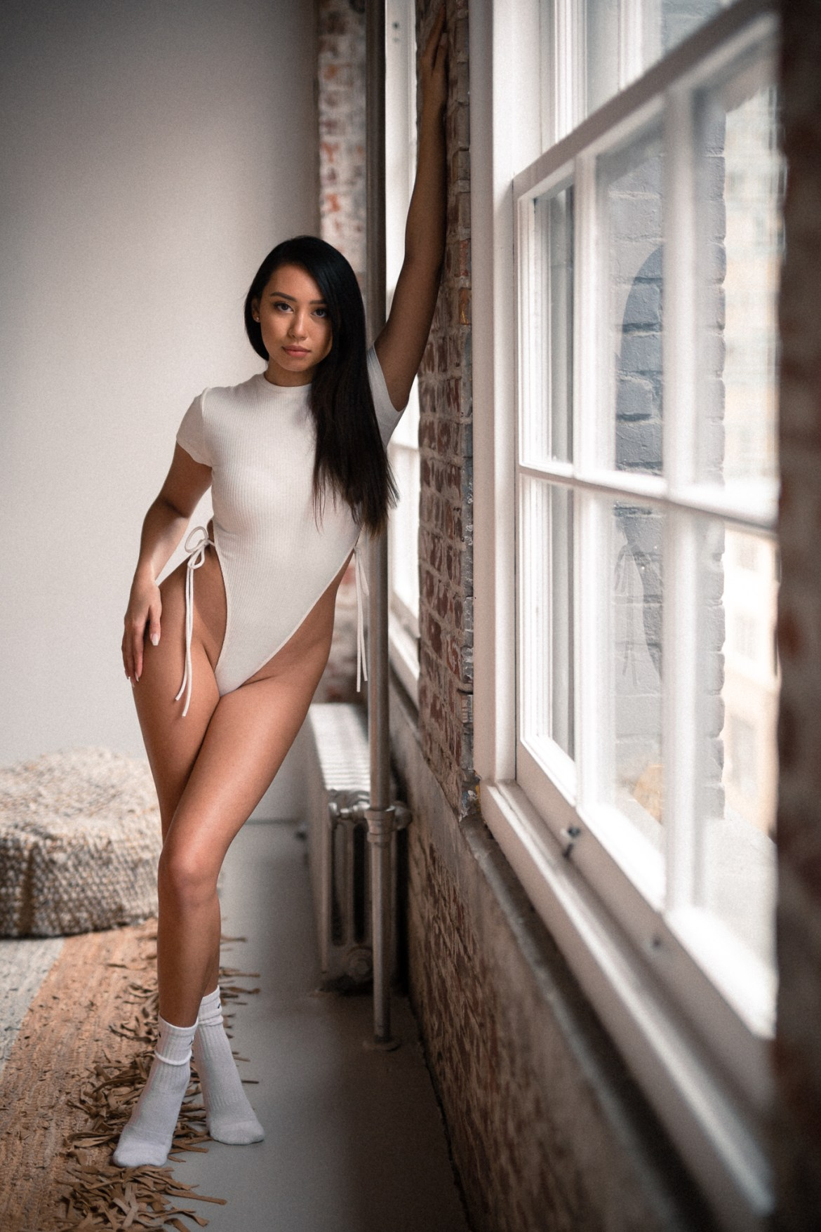 female, portrait, boudoir, windows, loft, natural, after lightroom presets, beautiful, bodysuit, socks