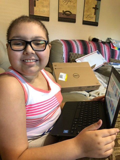 Pediatric cancer patient with a Mikey's Way Foundation electronic gift, helping kids cope with cancer... Mikey's Way