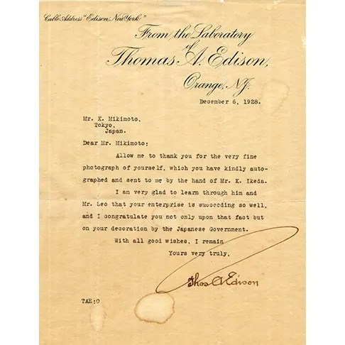 Letter of Thomas Edison