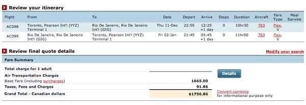 Voo Toronto para Rio de Janeiro