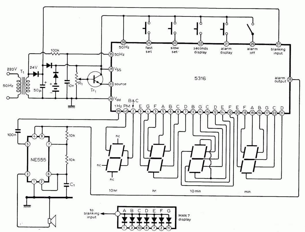 Led Alarm Clock Schematic