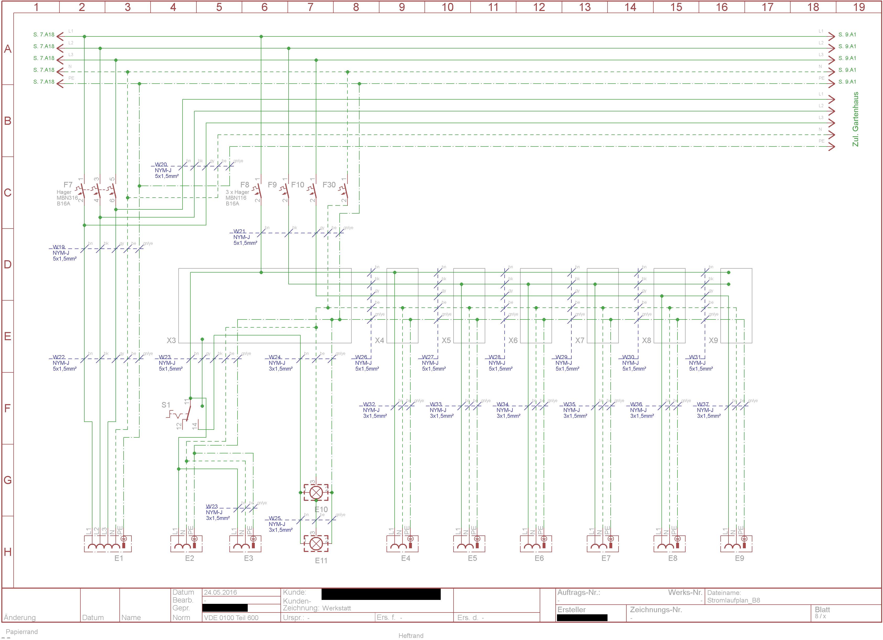 Schaltplan Unterverteilung Zeichnen