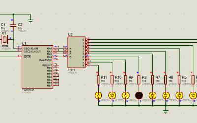 PIC16 desactiva luces secuenciales con 74145