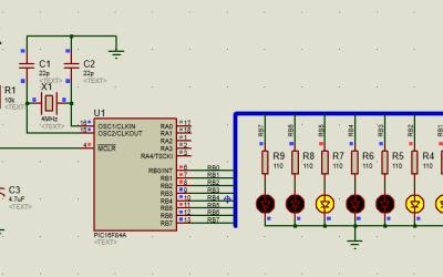 PIC16 contador binario con leds