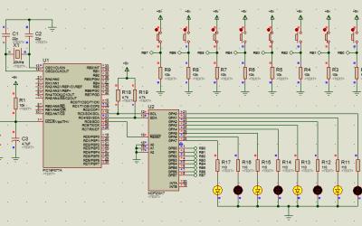 PIC16 MCP23017 transmisión y recepción de datos